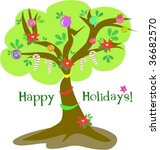 happy holidays christmas tree... | Shutterstock .eps vector #36682570