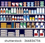 supermarket shelves with dairy... | Shutterstock .eps vector #366836756
