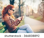 young woman using a smart phone ... | Shutterstock . vector #366838892