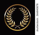 gold labels award with laurel... | Shutterstock .eps vector #366840878
