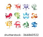 signs of zodiac  astrological... | Shutterstock .eps vector #366860522