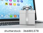 gift box with ribbon on laptop... | Shutterstock . vector #366881378