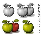 Engraved Green And Red Apple....