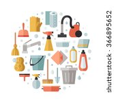 cleaning flat multicolored... | Shutterstock .eps vector #366895652