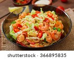 udon  pasta with shrimp ... | Shutterstock . vector #366895835