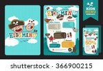 cute colorful kids meal menu... | Shutterstock .eps vector #366900215
