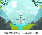 a lost city with fountain of... | Shutterstock .eps vector #366901328