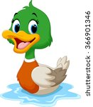 cartoon duck swimming | Shutterstock .eps vector #366901346