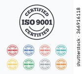 iso 9001 certified sign icon.... | Shutterstock . vector #366916118
