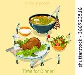 dinner time flat 3d isometry... | Shutterstock .eps vector #366923516