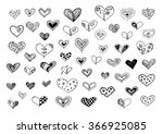 hand drawn doodle hearts... | Shutterstock .eps vector #366925085