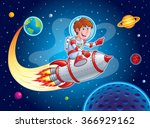 rocket boy blasting from earth... | Shutterstock .eps vector #366929162