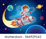 rocket boy blasting from earth... | Shutterstock .eps vector #366929162