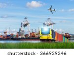 rail freight  containers ... | Shutterstock . vector #366929246
