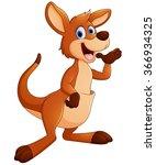 kangaroo cartoon waving | Shutterstock .eps vector #366934325