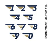 set of numbers. wings design... | Shutterstock .eps vector #366935546