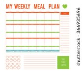 meal plan for a week calendar... | Shutterstock .eps vector #366935696