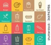 fast food outline design ... | Shutterstock .eps vector #366963986