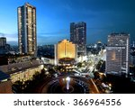 jakarta city at night with... | Shutterstock . vector #366964556