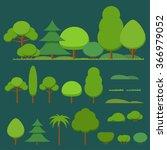vector set of flat trees ... | Shutterstock .eps vector #366979052