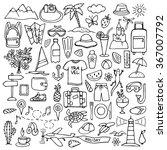 hand drawn travel set. vector... | Shutterstock .eps vector #367007792