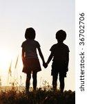 Two Children  Sunset  Romantic...