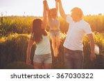 dad mom daughter family outdoor ... | Shutterstock . vector #367030322