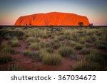 Majestic Uluru At Sunset On A...