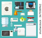 big  appliance set  isolated...   Shutterstock .eps vector #367038962