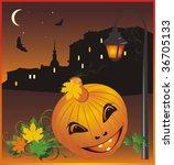 halloween. nightly city.... | Shutterstock .eps vector #36705133