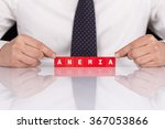 Small photo of Word ANEMIA with blocks