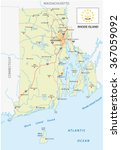 rhode island road map with flag | Shutterstock .eps vector #367059092