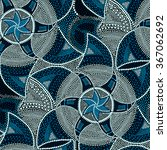 mosaic round blue tiles with... | Shutterstock .eps vector #367062692