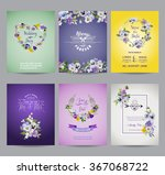 vintage pansy flowers card set  ... | Shutterstock .eps vector #367068722