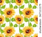 Seamless Pattern. Sunflower...