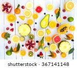 mix of colored fruits on white... | Shutterstock . vector #367141148