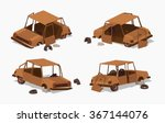 old rusty car. 3d lowpoly... | Shutterstock .eps vector #367144076