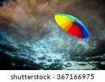rainbow umbrella floating over... | Shutterstock . vector #367166975