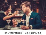 stylish wealthy couple having... | Shutterstock . vector #367184765