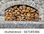 Stone Fireplace With Firewood...