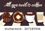 funny cartoon characters coffee ... | Shutterstock .eps vector #367185446