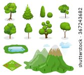 Flat 3d Isometric Vector Trees...