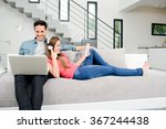 happy young couple relaxed on... | Shutterstock . vector #367244438