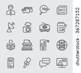 news reporter line icon | Shutterstock .eps vector #367287152