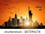 orange sunset in new york ... | Shutterstock .eps vector #367296176