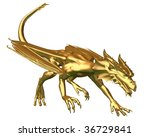 Golden Dragon Statue   Prowling