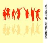 bouncing kids in retro style... | Shutterstock .eps vector #367302626