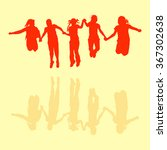 bouncing kids in retro style... | Shutterstock .eps vector #367302638