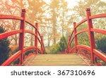 Red Wooden Bridge In Soft Ligh...