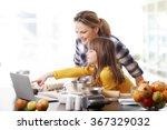 portrait of cute little girl... | Shutterstock . vector #367329032